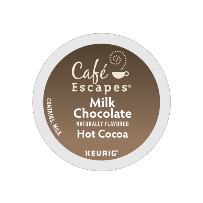 cafe escapes milk chocolate k cups lid